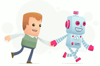 Illustration of human and robot